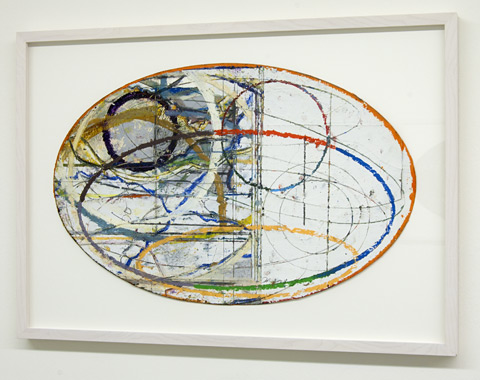David Rabinowitch / Anchored in Laying Bare the Disquise  2008  43 x 66 cm oil paint and pencil on paper collage