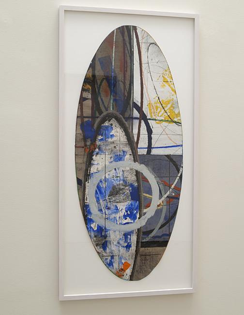 David Rabinowitch / Untitled  2008  111.1 x 47.6 cm paper collage, oil pastel, wax medium, pencil, oil paint, acrylic, color pencil on Belgian linen