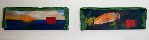 Ree Morton / Ree Morton Regional Piece  1975-76 two parts, each: 42 x 127 cm Oil and celastic on wood panel