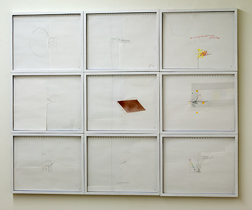 Richard Tuttle / Listening into Fire  2008  9 parts, each 30.5x 38.1 cm overall: 92 x 115 cm pencil, colored pencil, acrylic and collage on paper with framing line in blue
