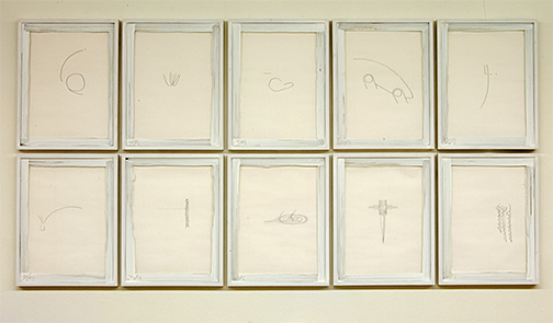 Richard Tuttle / Poem  2010  10 parts, each 34.5 x 26.5 x 2.5 cm paper: 30.6 x 22.8 cm pencil and color pencil on paper
