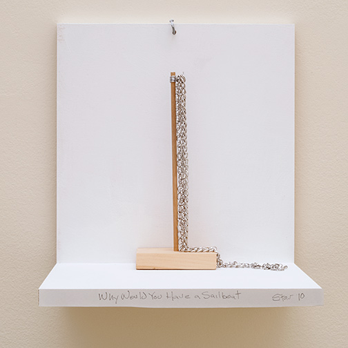 Richard Tuttle / Why Would You Have A Sailboat  Stars #10  2019  24.5 x 18 x 12 cm wood, wire and chains