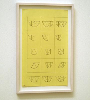 Robert Mangold / Curved Area (15 Variations) 1968  35.5 x 21.5 cm Bleistift auf gelbem Papier
