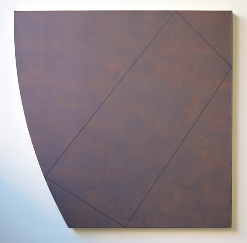 "Robert Mangold / Attic Series XVI, Study  1991  121.9 x 121.9 cm  /  48 x 48 "" acrylic and black pencil on canvas"