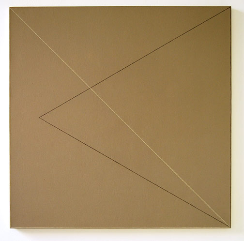 "Robert Mangold / Two Triangles Within a Square #3  1975  122 x 122 cm  /  48 x 48 "" acrylic, graphite and wax crayon on canvas"