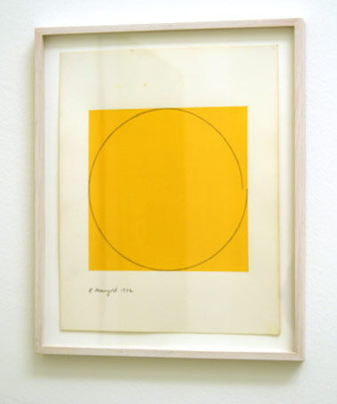 "Robert Mangold / Distorted circle within a yellow square  1972  35.6 x 28 cm  /  14 x 11 "" acrylic on paper"
