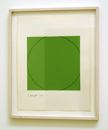 "Robert Mangold / Distorted circle within a green square  1972  35.6 x 28 cm  /  14 x 11 "" acrylic on paper"