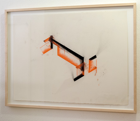"Fred Sandback / Untitled  1990 56.5 x 76.2 cm / 9.5 x 10.25 "" Pastel on paper FLS 0079"