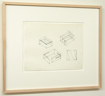 "Fred Sandback / Untitled  1976 20.3 x 27.9 cm  /  9.5 x 10.25 "" Felt tip pen on tracing paper FLS 164"