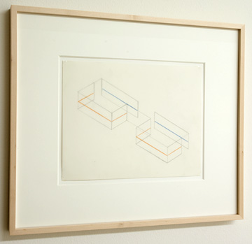 "Fred Sandback / Untitled (Study for Annemarie Verna Gallery, Zürich) 1990 21.6 x 27.9 cm / 8.5 x 11 "" Pastel pencil and pencil on vellum FLS 0207"