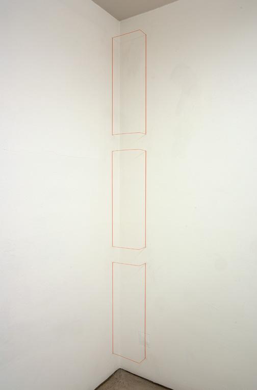 Fred Sandback / Untitled  1968 (RRR) 3-parts  Steel and elastic cord Fluorescent orange FLS#2026