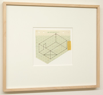 "Fred Sandback / Untitled (Study for Rindge Studio) 1980 13 x 15.5 cm  /  9.5 x 10.25 "" Felt tip pen on printed isometric paper FLS 0891"
