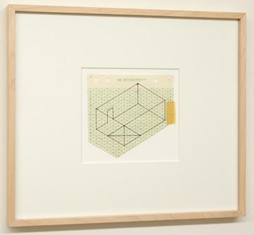 "Fred Sandback / Untitled (Study for Rindge Studio) 1980 13 x 15.5 cm / 9.5 x 10.25 "" Felt tip pen on printed isometric paper FLS 0891"
