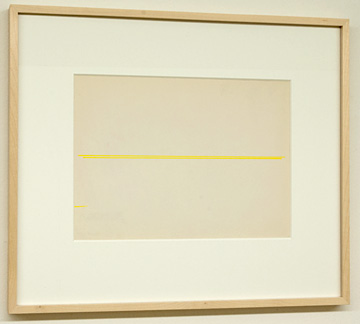 Fred Sandback / Untitled  1972  22.9 x 30.5 cm Yellow ink on notebook paper FLS 677