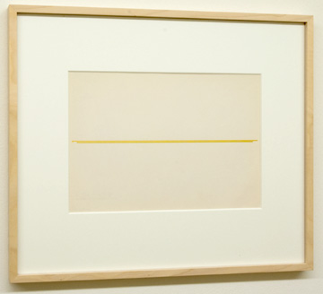 "Fred Sandback / Untitled  1972 22.9 x 30.5 cm  /  9.5 x 10.25 "" Beige and ochre on sketchbook paper FLS 878"