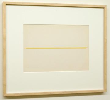 "Fred Sandback / Untitled  1972 22.9 x 30.5 cm / 9.5 x 10.25 "" Beige and ochre on sketchbook paper FLS 878"