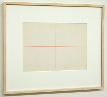 Fred Sandback / Untitled  1972  22.9 x 30.5 cm Red and yellow pencil on Strathmore Shelburne FLS 201