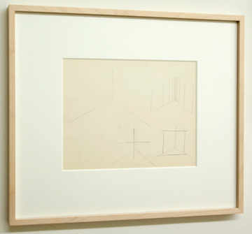 "Fred Sandback / Untitled  1971  21.6 x 27.9 cm / 9.5 x 10.25 "" Pencil on heavy white paper FLS 0937"
