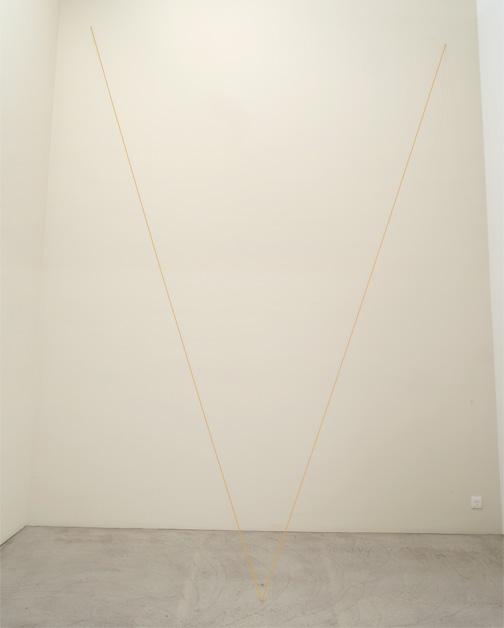 Fred Sandback / Untitled  1999  Dimensions variable Ochre acrylic yarn FLS#2157