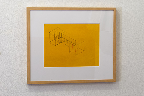 Fred Sandback / Untitled  2000  21.6 x 27.9 cm pastel pencil and pencil on yellow paper Annemarie Verna Gallery Neptunstrasse 42