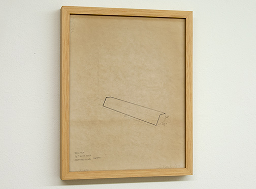 Fred Sandback / Untitled  1/8 inches RCD + Cord Brittany Blue 1967  27.8 x 21.7 cm pencil on tracing paper