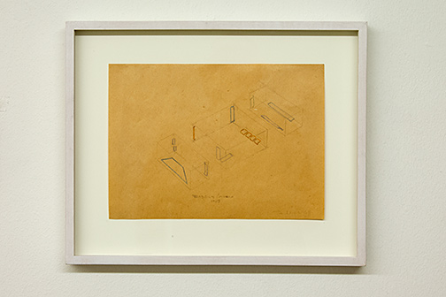 Fred Sandback / Installation Gallery Heiner Friedrich Munich  1968  19.5 x 26.7 cm pencil and colored pencil on paper
