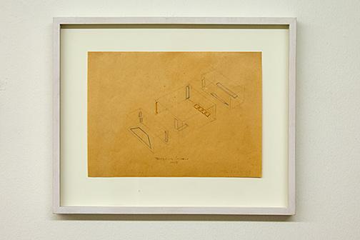 Fred Sandback / Installation Gallery Heiner Friedrich Munich  1968  19.5 x 26.7 cm pencil and colored pencil on paper