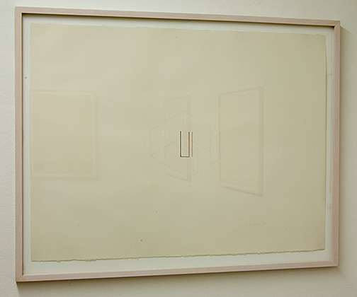 Fred Sandback / Untitled  1981  56.5 x 76 cm pencil and black and red crayon on paper