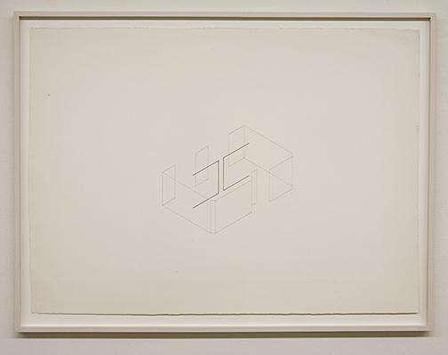 Fred Sandback / Untitled  1976  56 x 76.4 cm pencil and ink on paper  Annemarie Verna Galerie Mühlegasse 27
