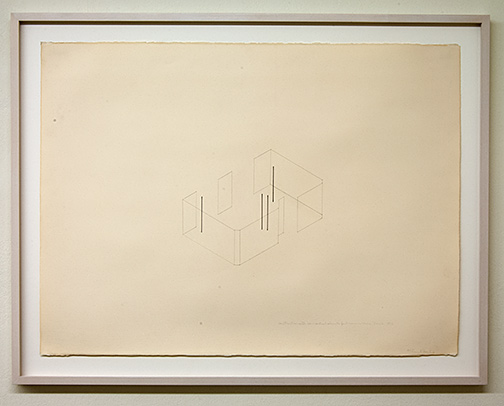 Fred Sandback / Construction with 4 Vertical Elements for Annemarie Verna Zürich  1976  56 x 76.5 cm pencil and ink on paper Annemarie Verna Galerie Mühlegasse 27