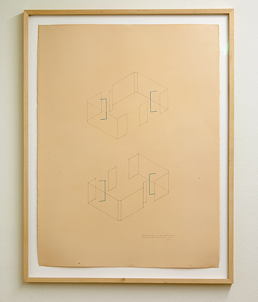 Fred Sandback / Two Aspects of a Two-Part Construction for the Annemarie Verna Gallery, Zürich  1976  76.5 x 57.5 cm pencil and colored chalk on paper Annemarie Verna Galerie Mühlegasse 27