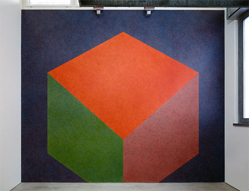 Fred Sandback / Sol LeWitt Tilted Form with color ink washes superimposed  1987 Wall Drawing #524 Drawn by Nicolai Angelov Photo: Thomas Cugini, Zürich