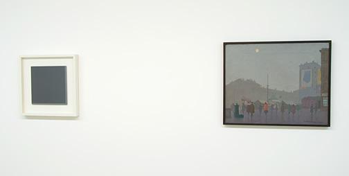 Antonio Calderara / Antonio Calderara  (1903-1978)  Senza Titolo  1974 oil on wood 27 x 27 cm  Milano, Piazza C. Correnti nella nebbia  1931 oil on canvas 51.3 x 63 cm