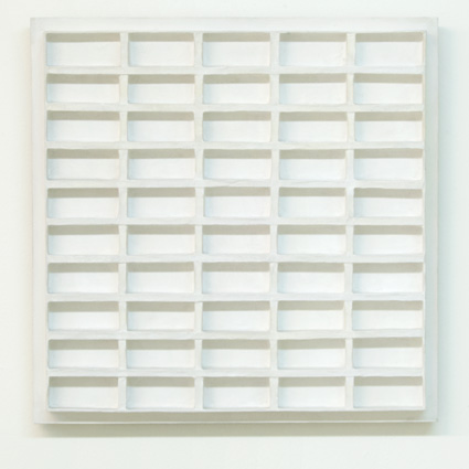 Andreas Christen / Jan Schoonhoven (1914-1994) R 71-29  1971  43 x 43 cm Pappe, Papier, weisse Latexfarbe, Holz