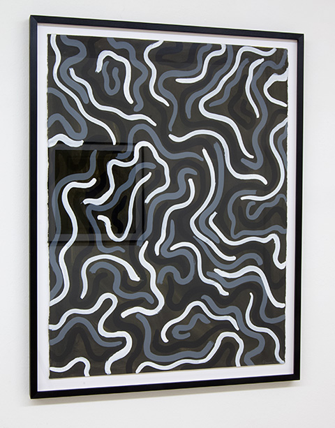 Sol LeWitt / Squiggly Brushstrokes  1997  76.2 x 57.2 cm   gouache on paper / black and white