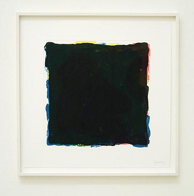 Sol LeWitt / Black over colors (red, yellow, blue, black irregular squares superimposed)  1994 53.3 x 53.3 cm aquatint and etching Ed. 1/50