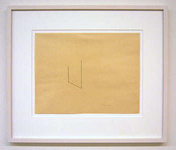 Fred Sandback / Untitled  1975 21.5 x 27.8 cm pencil and green pastel pencil on yellow paper
