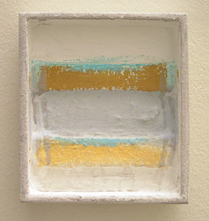 Joseph Egan / episode  2006 18 x 16 x 4 cm various paints and sand on wood