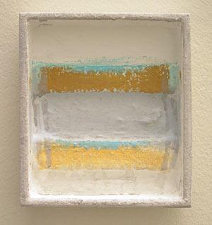 Joseph Egan / episode  2006 18 x 16 x 4 cm various paints and sand on wood