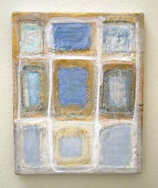 Joseph Egan / patchwork  2006 30 x 24 x 2 cm various paints and sand on canvas