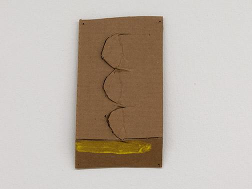 Richard Tuttle / Richard Tuttle Formal Alphabet J  2015 24.1 x 15.3 cm acrylic on corrugated cardboard, steel nails