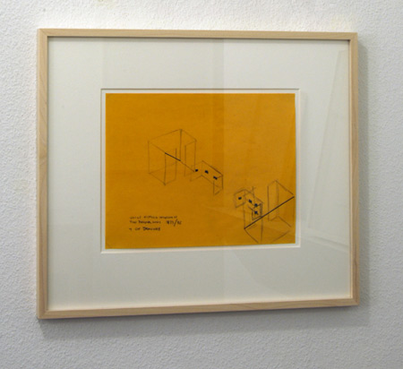 "Fred Sandback / Fred Sandback  Untitled (Project Annemarie Verna Galerie 1996)  1973 / 1996 21.6 x 28 cm / 8.5 x 11"" graphite on yellow paper"