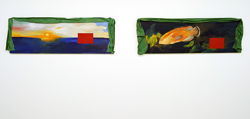 "Ree Morton / Ree Morton  Regional Piece  1975-76 42 x 127 cm / 17 x 50"" oil and celastic on two wood panels"
