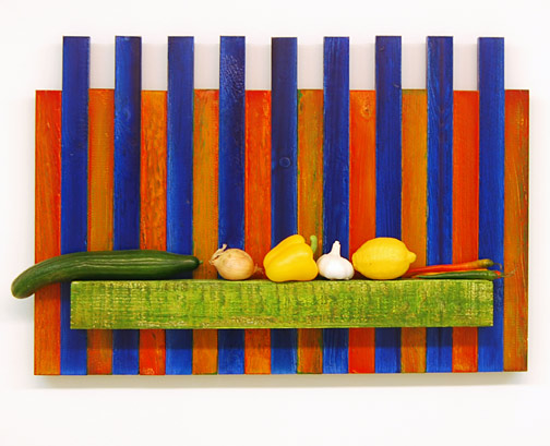 Joseph Egan / Joseph Egan Picket (a place to eat from)  2002 56 x 82 x 10 cm various paints on wood