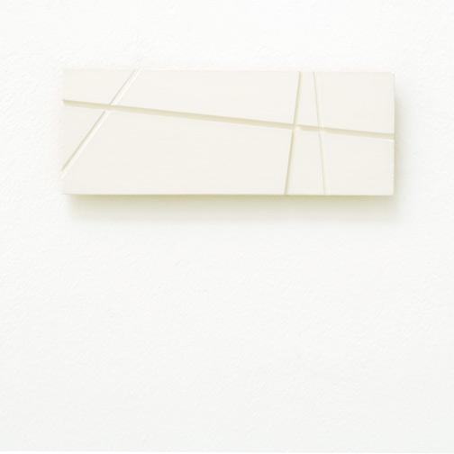 Fred Sandback / Fred Sandback  Untitled  1998 7.8 x 20.8 x 1.5 cm acrylic on wood (white) Privatsammlung