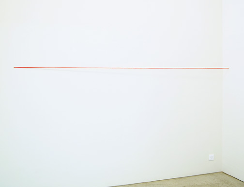 Fred Sandback / Fred Sandback  Untitled  1974 162.6 x 304.8 x 15.2 cm red acrylic yarn, untwisted, four strands
