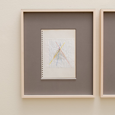 Richard Tuttle / 14 Drawings for Village VI Untitled, No. 1  2004  paper: 21 x 14.8 cm / pp: 36.7 x 30.5 cm colored pencil and collage on paper