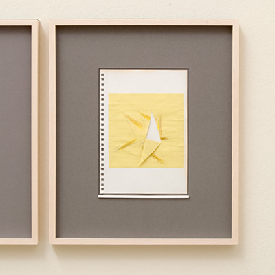 Richard Tuttle / 14 Drawings for Village VI Untitled  2004  paper: 21 x 14.8 cm / pp: 36.7 x 30.5 cm pencil, colored pencil and collage with yellow ruled paper