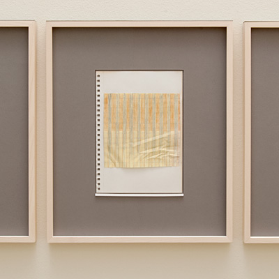 Richard Tuttle / 14 Drawings for Village VI Untitled, No. 3  2004  paper: 21 x 14.8 cm / pp: 36.7 x 30.5 cm pencil, colored pencil and gouache with yellow ruled paper on paper