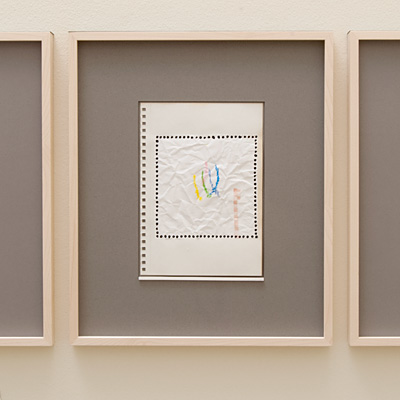 Richard Tuttle / 14 Drawings for Village VI Untitled, No. 6  2004  paper: 21 x 14.8 cm / pp: 36.7 x 30.5 cm colored pencil, india ink and collage on paper